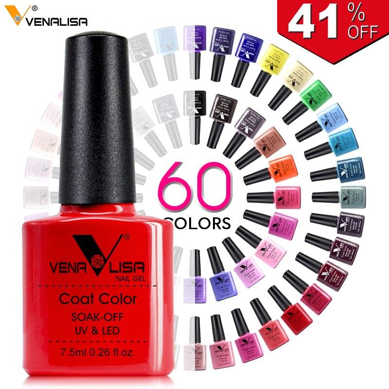 Новый Бесплатная доставка Дизайн ногтей маникюр Venalisa 60 цвет 7,5 мл Soak Off Эмаль Гель лак УФ гель лак для ногтей Лаки