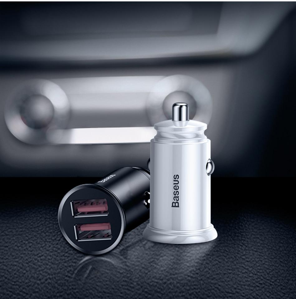 Baseus 30W Quick Charge 3.0 Dual USB A Car Charger [BS-C16Q1] Pakistan brandtech.pk
