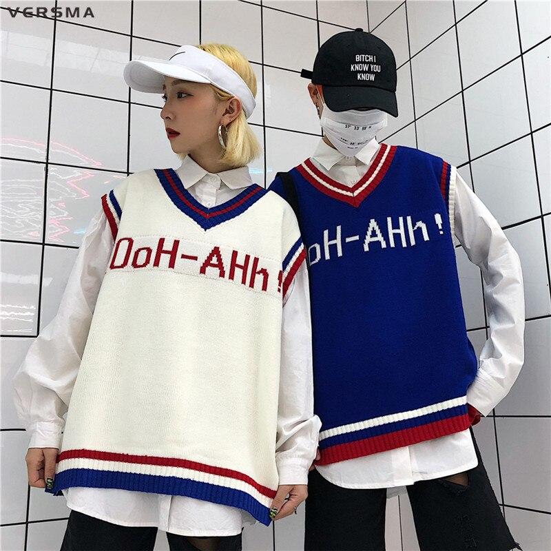 VERSMA 2018 Korean Harajuku Instagram BF Letter Mens Knitted Vests Sweater V Neck Oversized Sleeveless Sweater Men Vest Pullover