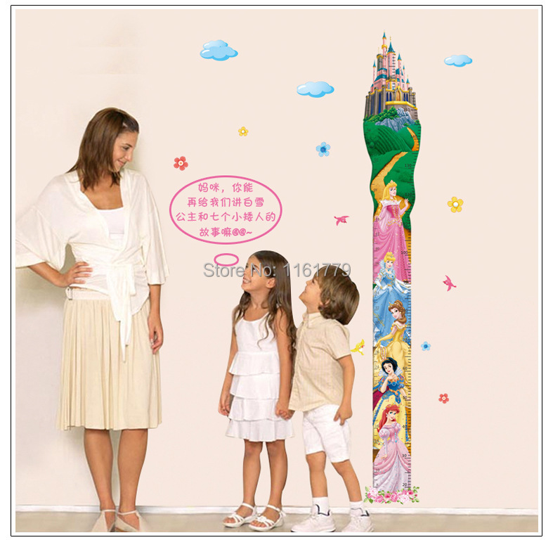 Removable Princess Castle Girl Room Height Tower Growth Chart Wall