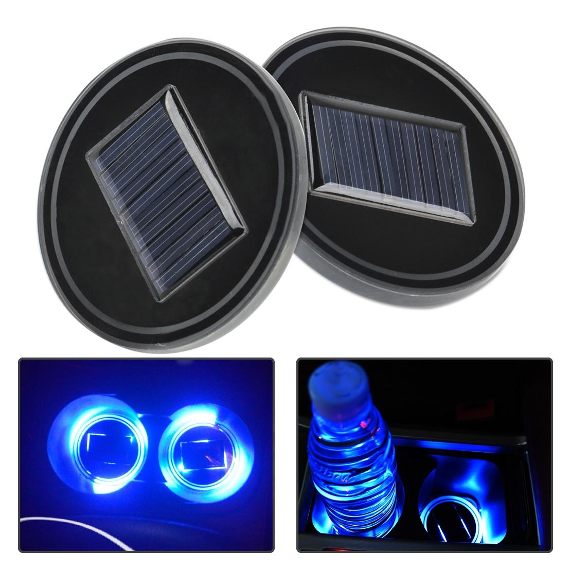 Dwcx 2pcs Car Solar Energy Cup Holder Bottom Pad Mat Blue Led Light Cover Trim Atmosphere Lamp Decor Fit For Vw Mercedes-benz Anti-slip Mat Automobiles & Motorcycles