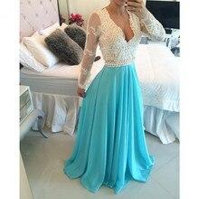 Real Photo v-ausschnitt A-linie Arabisch Abendkleid Long Sleeve Applizierte Perlen Elegante vestido de festa Spitze Chiffon Promkleider