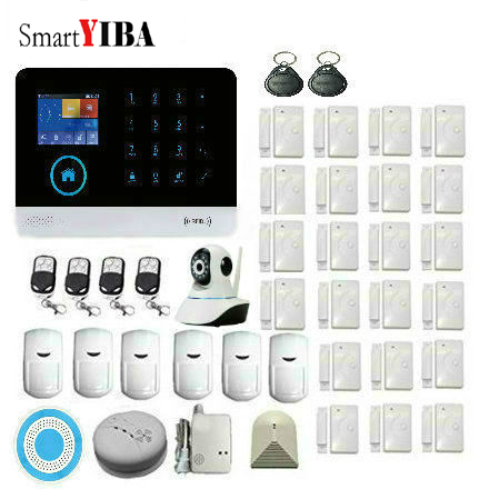 fuers russian english wifi gsm home alarm system security phone apps control russian alarm with ip camera wifi gsm alarm system SmartYIBA APP Control WiFi GSM Alarm with IP Camera for Smart House Home Security Alarm System Russian Spanish French Language