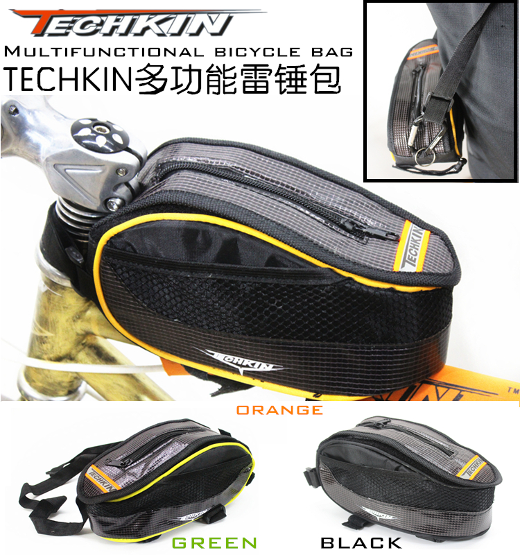 Factory production20331 techkin multi function new waterproof PV/PU leather bicycle bag front beam package saddle bag|bicycle bag|leather bicycle bag|saddle bag - title=