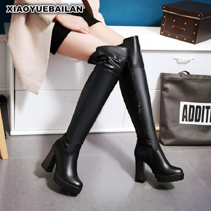 Winter New Sexy Thigh Boots With Thick Waterproof Taiwan High Heeled Biker Cylinder Side Zipper