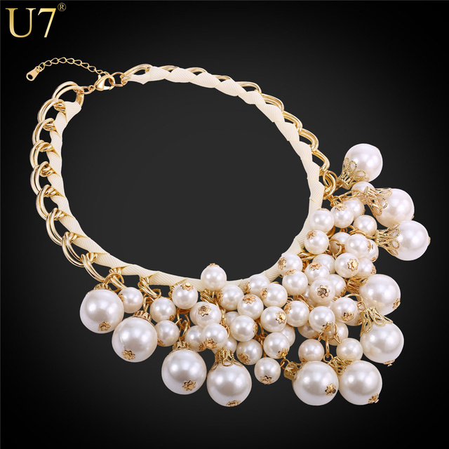 U7 Women Maxi Necklace 2016 New Fashion Luxury Round White Black Simulated Pearl Statement Necklace Wholesale N532