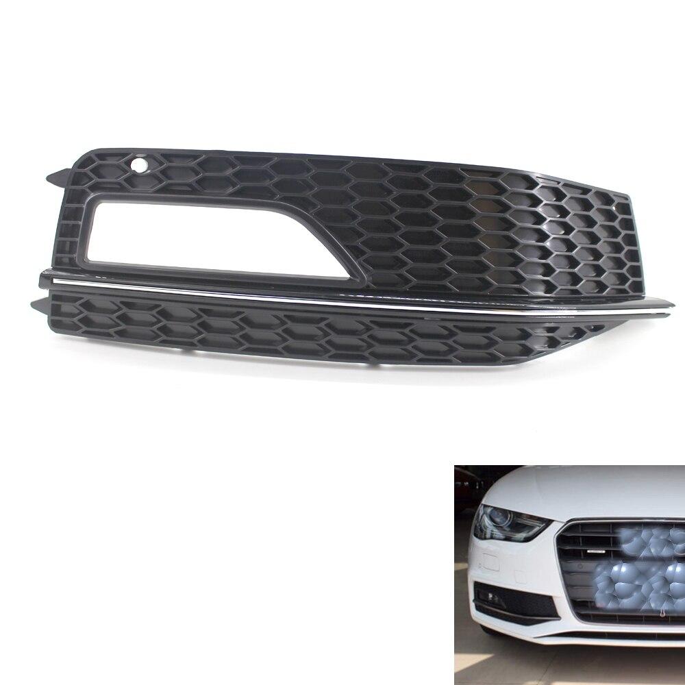 Gloss Black Right Front Bumper Fog Light Grille For Audi