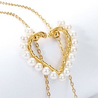 Fashion brand long adjustable pearl love necklace wild clavicle chain personality chain S925 necklace necklaces for women