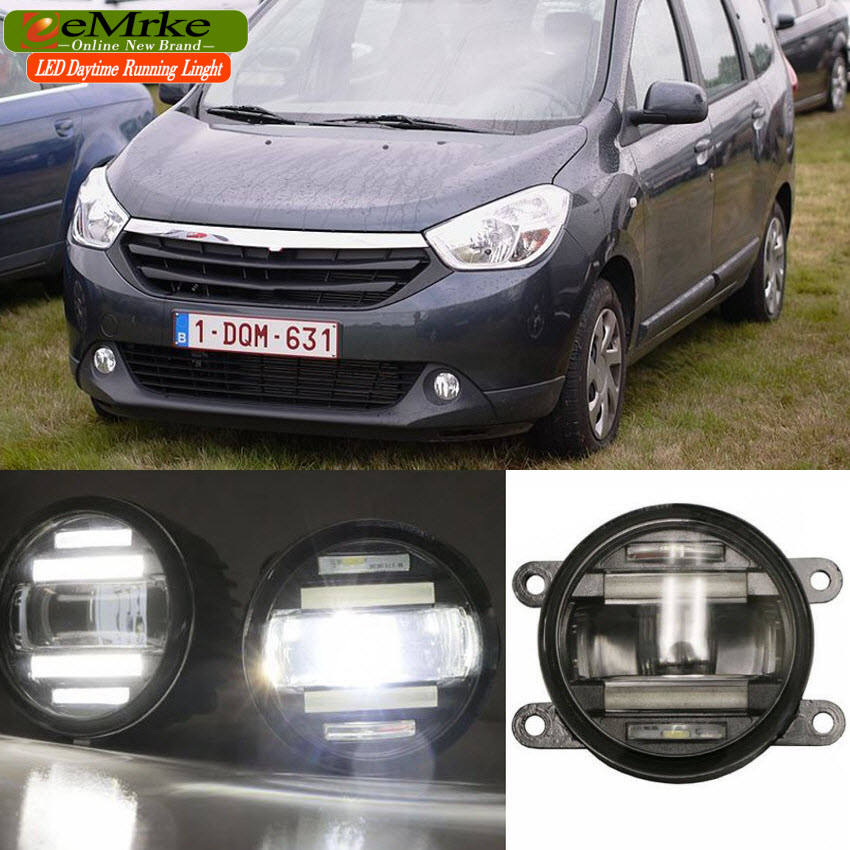 eeMrke Car Styling For Dacia Lodgy 2013-up 2 in 1 Multifunction LED Fog Lights DRL With Lens Daytime Running Lights eemrke car styling for opel zafira opc 2005 2011 2 in 1 led fog light lamp drl with lens daytime running lights