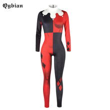 Qybian New Women Jumpsuits  long sleeve Turtleneck  Rompers  back Zipper long pants Sexy Halloween Clown lady Jumpsuits