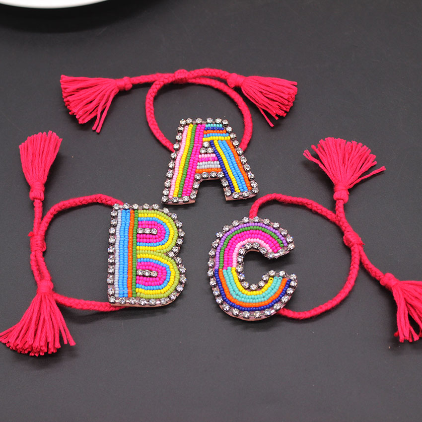 2018 new Customed Letter Boho Bib Bohemia  Boho Handmade Braided Bracelets Vintage Cotton Rope Ethnic Charm Bracelets 799
