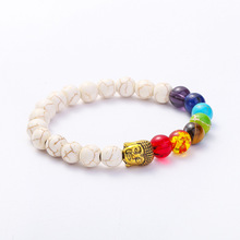 Manufacturer Direct New Style Jewelry Fashion Buddha Head White Natural Stone Bracelet Manual Beads Colorful Energy