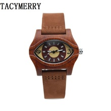 2016 Hot eyes Antique 100% Natural Red Wooden Watch For Female's Best Gift With Guniue Leather Straps  Women Wristwatches box все цены
