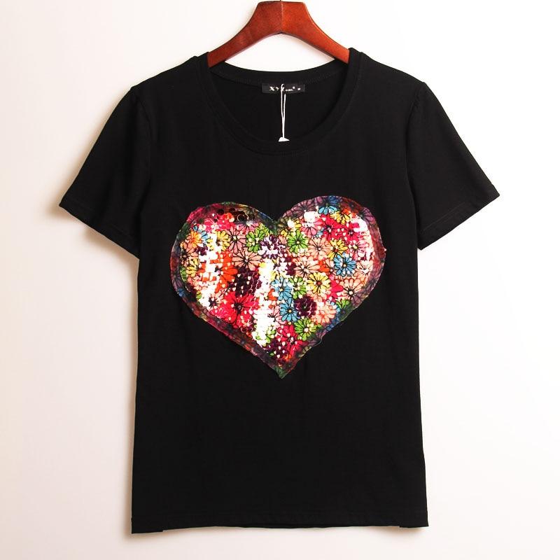 buy 2 colors summer hot t shirt women sequined love heart sequins t shirt women. Black Bedroom Furniture Sets. Home Design Ideas