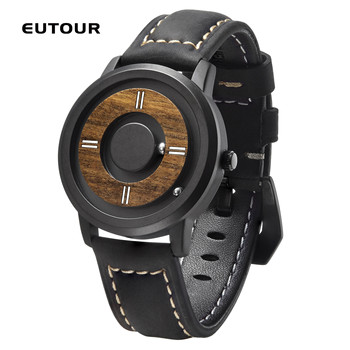 EUTOUR  dial Wooden dial watches Luxury Brand Mens fashion Casual Quartz Watch Simple Men Round leather strap Wristw