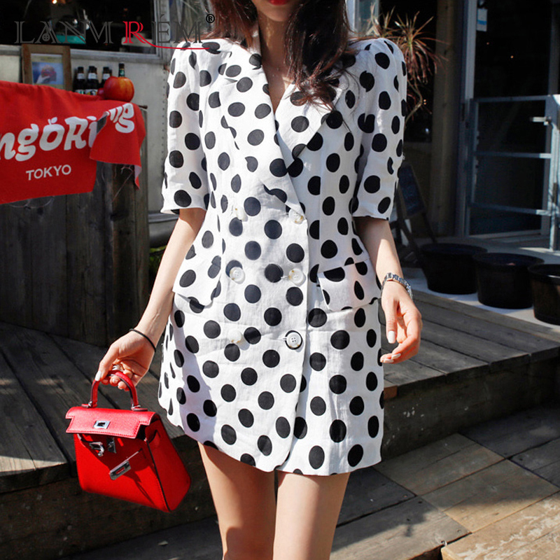 LANMREM 2019 Summer New Notched Collar Double Breasted Short Sleeve Dot Printing Empiore Waist Ladies Fashion