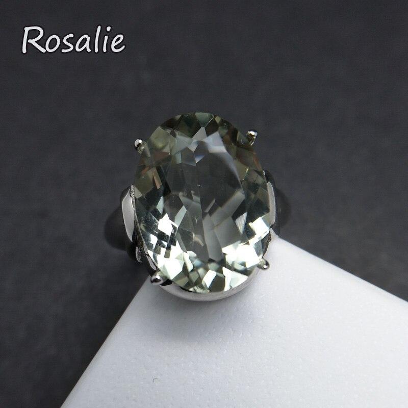 Rosalie, 8.5ct réel naturel vert améthyste ovale 12*16mm pierres précieuses simple et solide 925 sterling silve femmes anneau avec boîte à bijoux