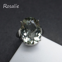 Rosalie,8.5ct real natural green amethyst oval 12*16mm gemstone simple and solid 925 sterling silve women ring with jewelry box