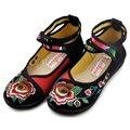 Мода Женщин Мэри Джейн Дышащий Вышитые Туфли Балет Танец Мать Вождения Этническая Досуг Обувь Одного