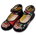 Manera de Las Mujeres de Mary Jane Zapatos Bordados Respirables Danza Ballet Madre Conducción Étnica Ocio Zapatos de Un Solo