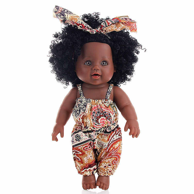 12 дюймов силиконовая виниловая кукла-реборн новорожденный кукла черный Рапунцель Детские куклы мягкие куклы Reborn Младенцы игрушки девочка ребенок 30 см