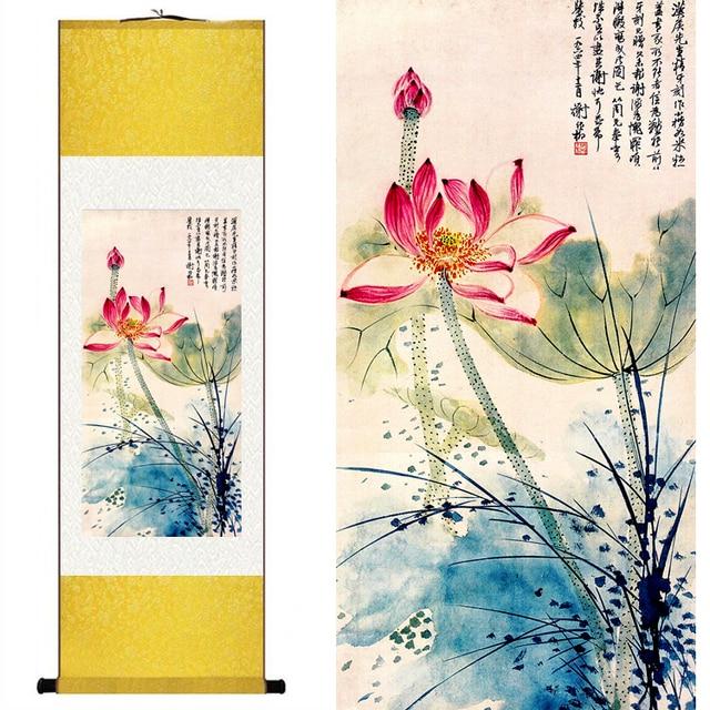 Kunstdruck Leinwand traditionelle chinesische silk aquarell original blume vögel lotus