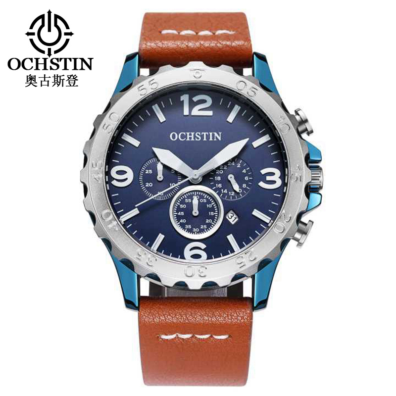 OCHSTIN Men Sports Watches Men's Quartz Date Clock Man Leather Army Military Wrist Watch Relogio Masculino Chronograph 077B ochstin quartz chronograph sport watches men waterproof leather military wrist watch men clock male reloj relogio masculino