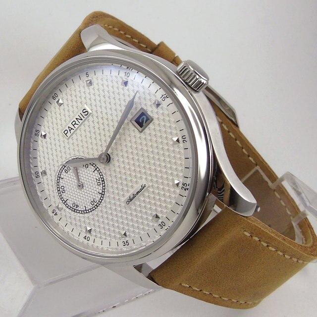 5af55e04334 43mm Parnis mostrador branco data pulseira de Couro camelo ajuste  Automático de auto-liquidação movimento