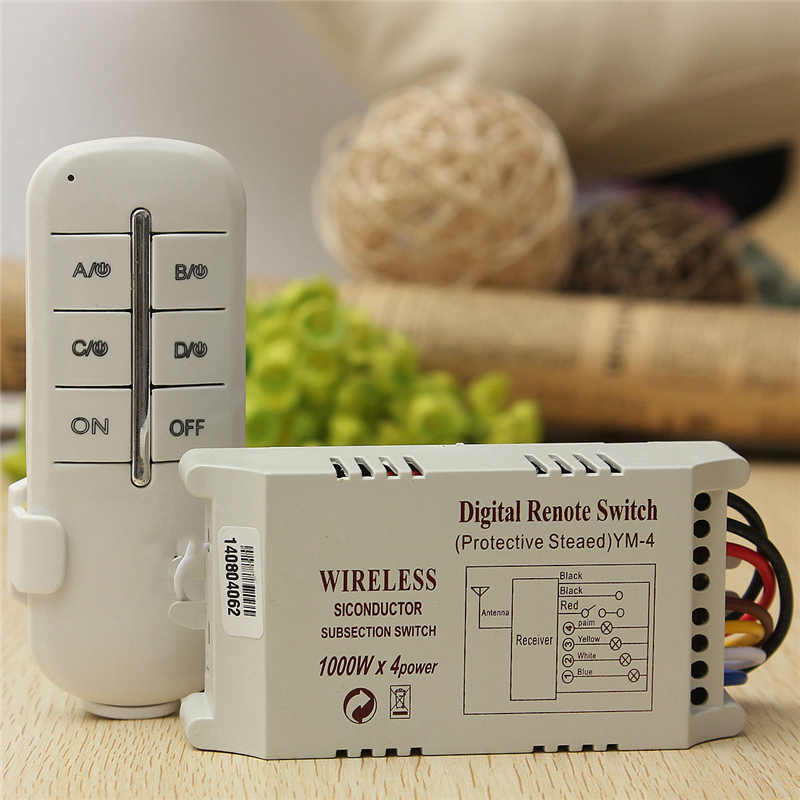 Wireless 4 Channels ON/OFF 220V Lamp Remote Control Switch Receiver Transmitter Used in Household Stairs Corridor Promotion built in remote on off control and remote sense function scn 800 12 220v 12v transformer led