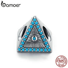 BAMOER Authentic 925 Sterling Silver Magic Blue Eyes Triangle Shape Beads fit Charms Bracelets & Necklaces Chain Jewelry SCC1093(China)