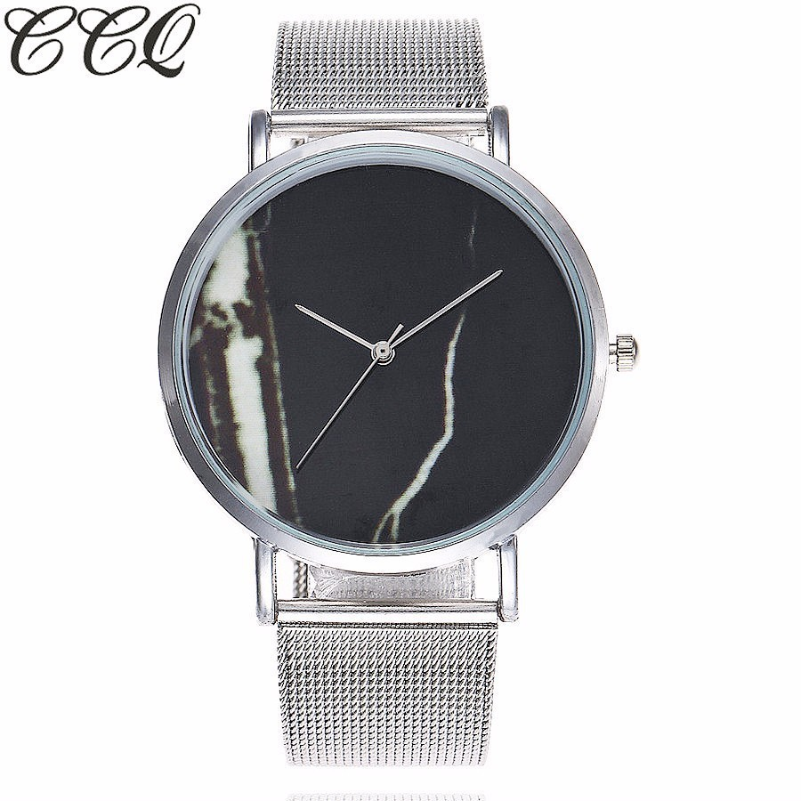 CCQ Brand Creative Marble Dial Quartz Watch Women Stainless Steel Dress Simple Watch Relogio Feminino Drop Shipping meibo brand fashion women hollow flower wristwatch luxury leather strap quartz watch relogio feminino drop shipping gift 2012