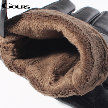 Gours Mens Genuine Leather Gloves Real Sheepskin Black Touch Screen Gloves Button Fashion Brand Winter Warm Mittens New GSM050