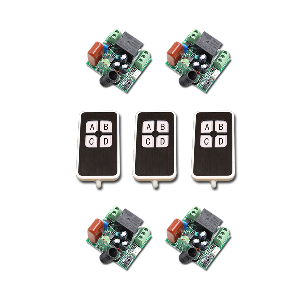 Latest AC220V 1CH 10A Wireless Remote Control Power Switch System 4 Receivers+3Waterproof Transmitter with 4Buttons RF For Home ac220v 1ch 10a rf wireless remote control switch system teleswitch 1 transmitter