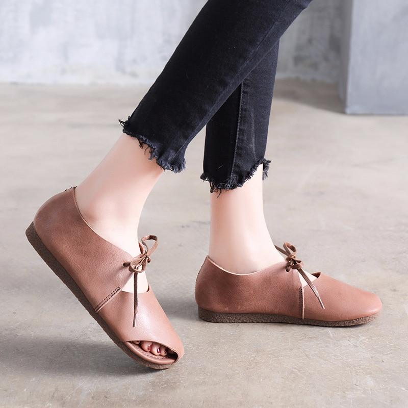 Qadın ayaqqabısı yay qadın təsadüfi düz sandalet krujeva - Qadın ayaqqabıları - Fotoqrafiya 3