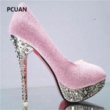 sequins Bridal wedding shoes ladies waterproof platform shallow mouth round head high heels crystal sandals