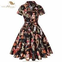 SISHION Western Cowgirl Print Retro Vintage Dress 2018 Women Ladies Black 3XL 4XL Plus Size Cotton Autumn Dress with Belt SD0002
