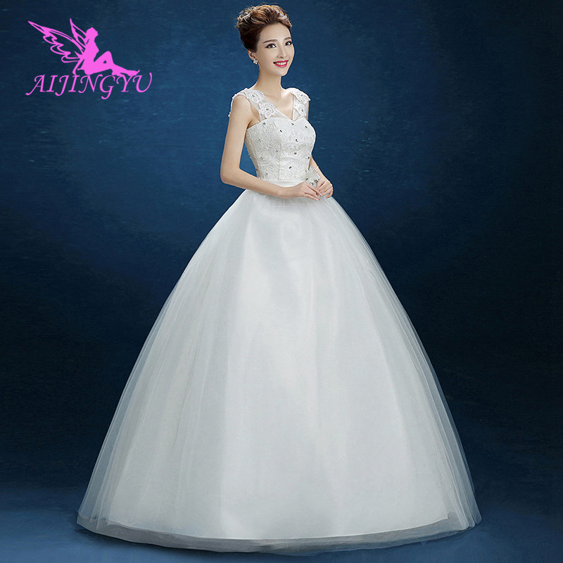 AIJINGYU 2018 White Free Shipping New Hot Selling Cheap Ball Gown Lace Up Back Formal Bride Dresses Wedding Dress FU112