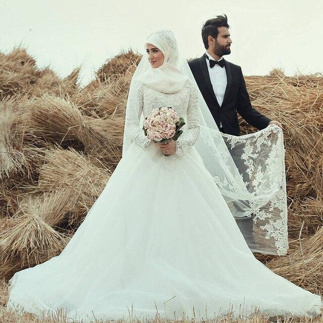 Robe de mariage Hijab Dentelle À Manches Longues robe de Bal 2017 Perles  Perlée Musulman Cour