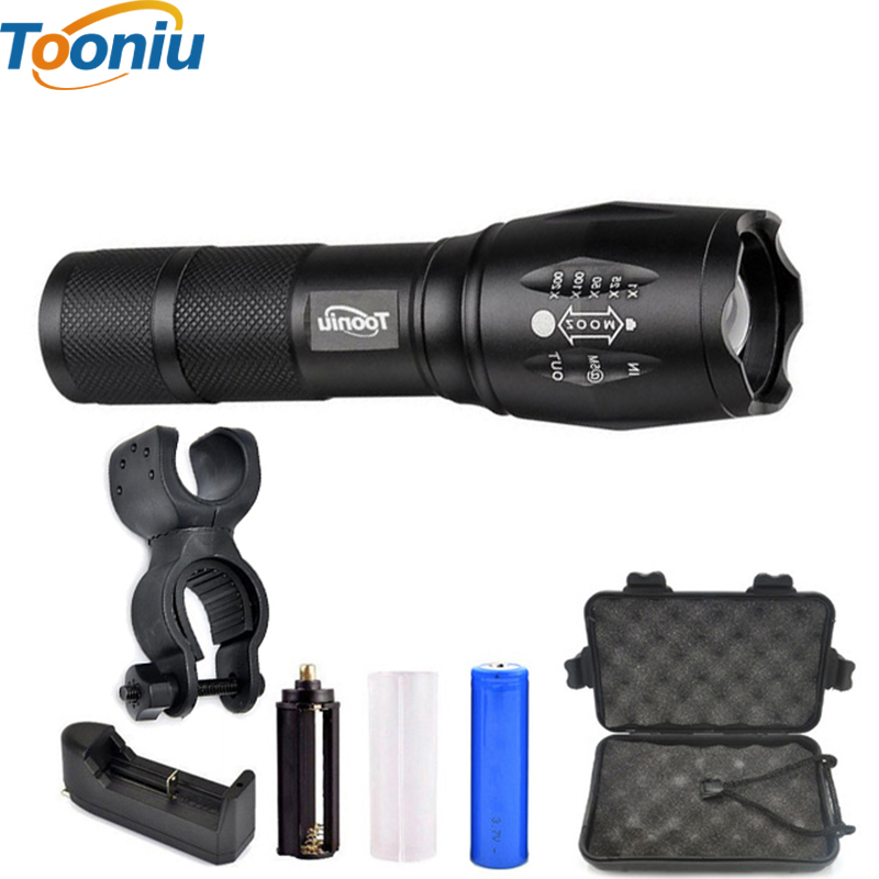 Tooniu XM-L T6 L2 4000LM Aluminum Waterproof Zoomable CREE LED Flashlight Torch light for 18650 Rechargeable Battery or AAA leshp xm l t6 5000lm aluminum waterproof zoomable cree 5 mode led flashlight torch light for 18650 rechargeable battery or aaa