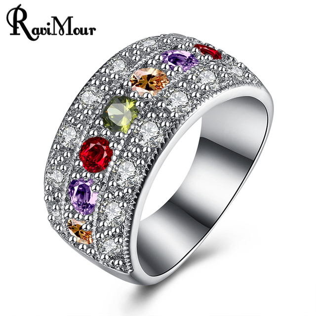 Ravimour Hot Wedding Rings For Women Jewelry Fashion Crystal Silver Color Engagement Ring Punk Bague Femme