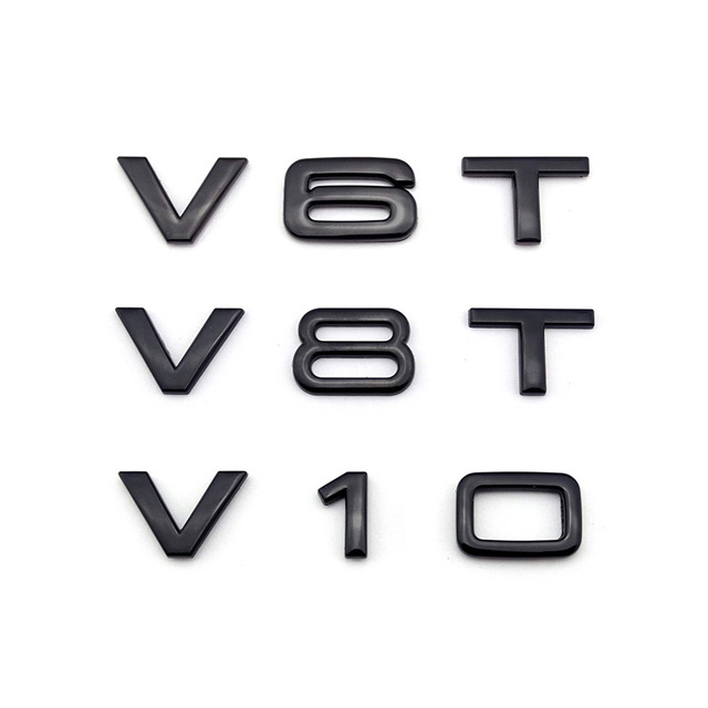 V6T V8T V10 V12 W12 for Audi TT RS7 SQ5 A8L Letter Number Emblem Glossy Black Car Styling Fender Side Trunk Badge Logo Sticker