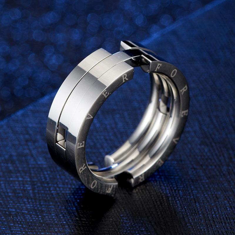 Уникальное деформационное кольцо с рыбкой для мужчин серебряное кольцо из нержавеющей стали с гравировкой Forever кольца никогда не выцветают мужской свадебный браслет