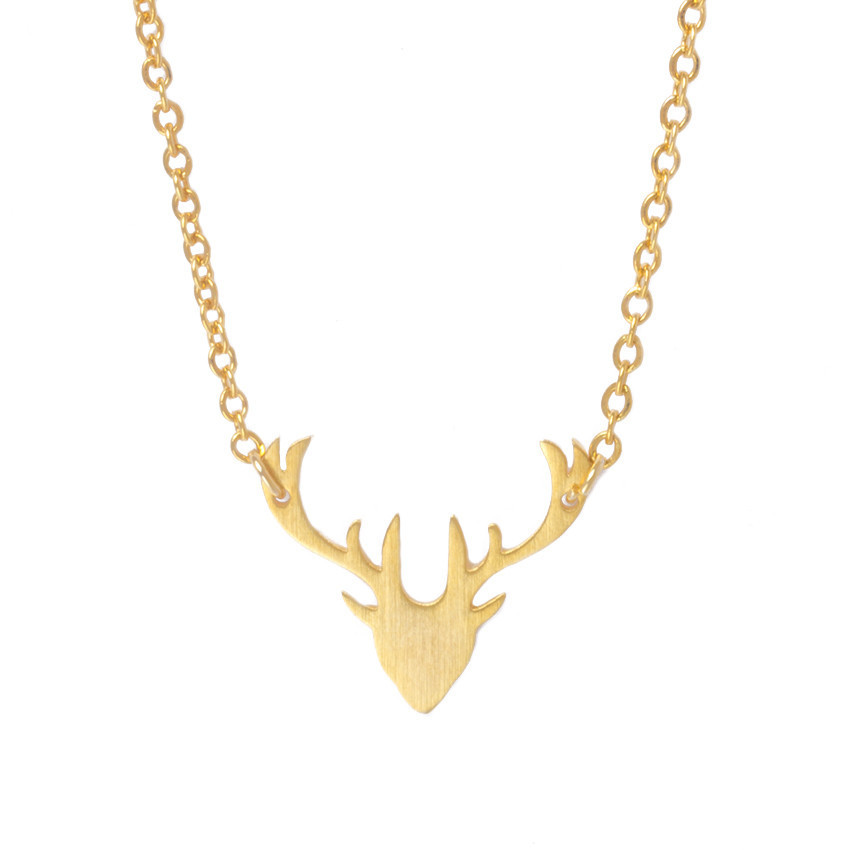 ACEBFEET Delicate Rose Gold Color Deer Antler Necklace For Women Men Animal Pendant 2017 Vintage Stainless Steel Jewelry image