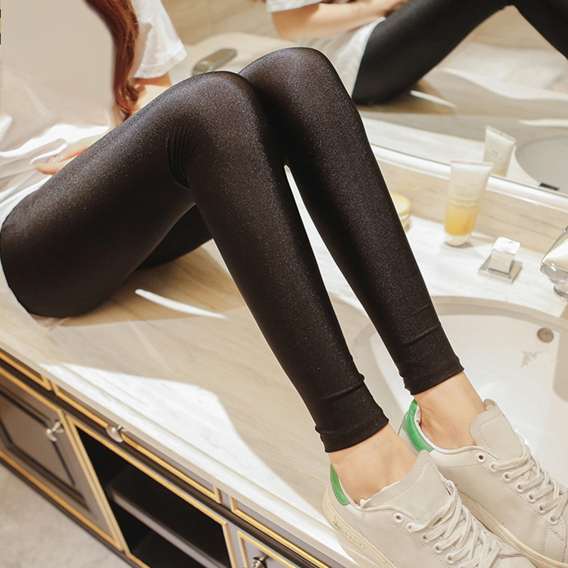 Hot Selling 2019 Women Solid Color Fluorescent Shiny Pant   Leggings   Large Size Spandex Elasticity Casual Trousers For Girl drop