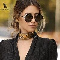 SAN VITALE Steampunk Goggles Sunglasses Women Men Brand Designer Ladies Fashion Round Retro Sun Glasses For