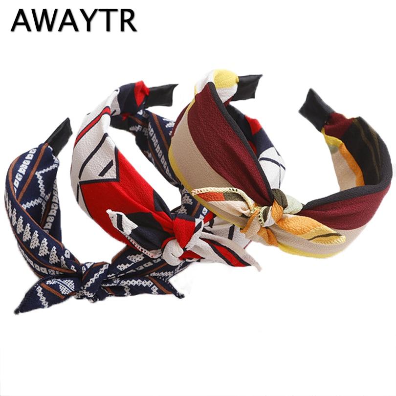 AWAYTR Retro Simple Knot Wide Edge Hair Band Head Hoop Turban Floral Headwear Women Hair Accessories Girls Hairbands