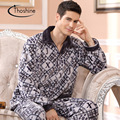 Thoshine 2017 Spring Winter Keep Warm & Anti Cold Men Coral Fleece Pajamas sets of Sleepcoat & Pants Adult Male Flannel Clothing