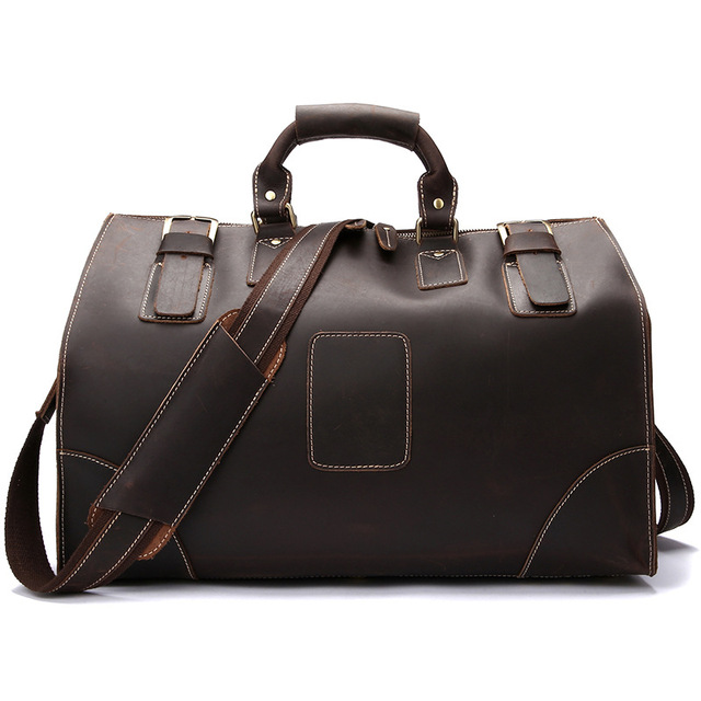 87bcfcc112 Vintage Cowhide Leather Men s Large Capacity Travel Duffle Genuine Leather  shoulder Bags For Men Male Large Travel Bags LS0186