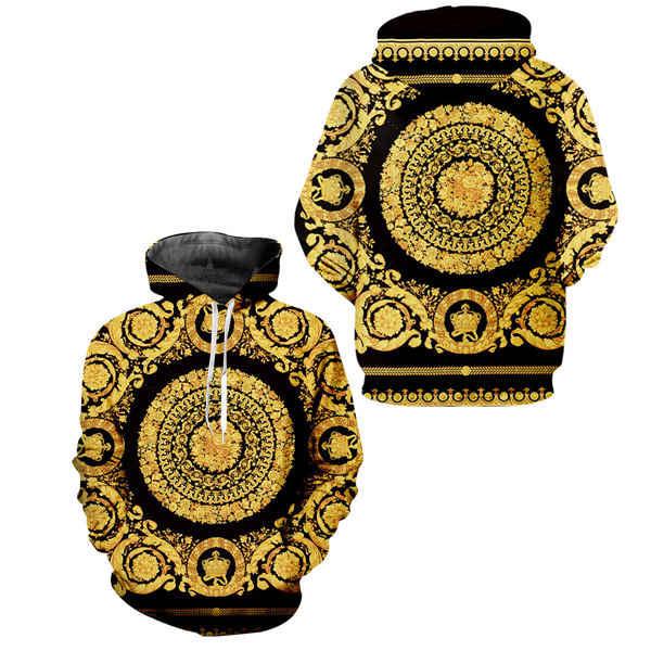 Gothic 3d Oro Stampa Floreale degli uomini di Set Autunno Inverno Zip up Felpe Felpa Pantaloni Della Tuta Jogger Vestito Da Uomo Su Misura 2 pcs Tute