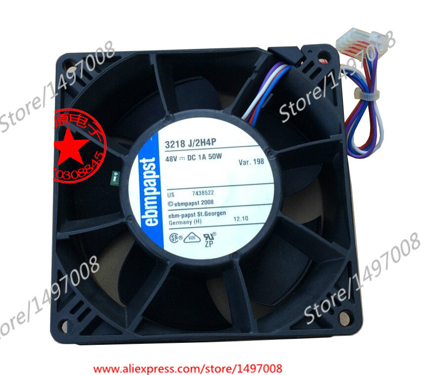 ebmpapst  3218J/2H4P AC 48V 50W  4-pin  90mm, 90x90x38mm Server Square fan ebmpapst a6e450 ap02 01 ac 230v 0 79a 0 96a 160w 220w 450x450mm server round fan outer rotor fan